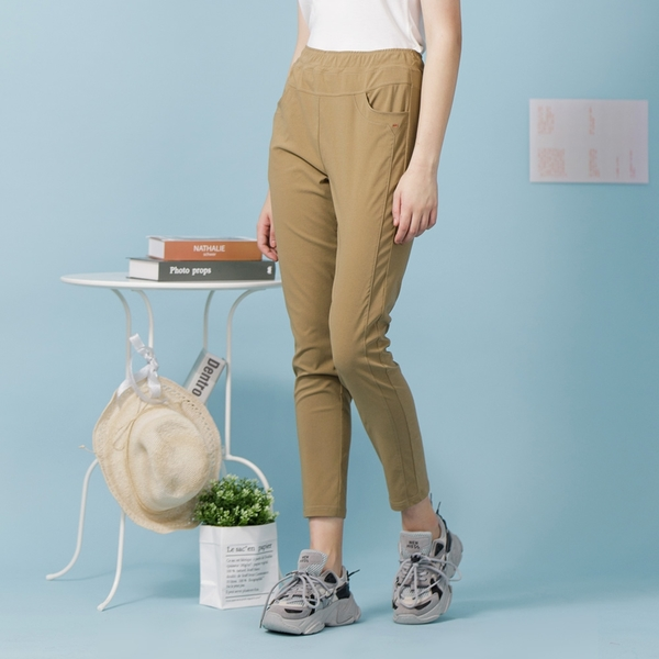 【中大尺碼】MIT側剪接顯瘦薄布長褲