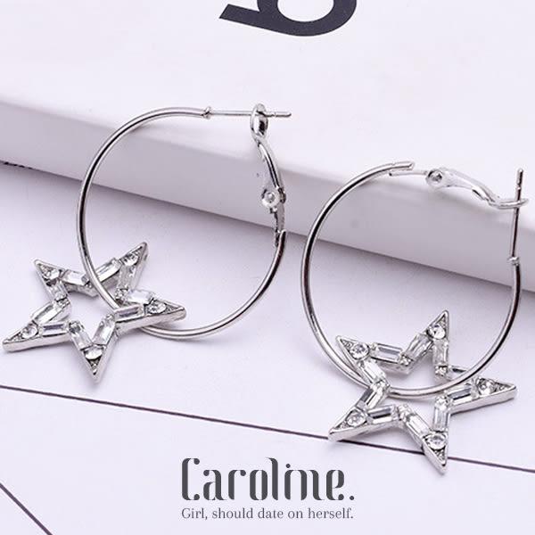 《Caroline》★韓國官網熱賣兩款可選鋯鑽五角星星十字架珍珠氣質風格時尚流行耳環69639