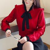 長袖襯衣 春很仙的上衣韓版蝴蝶結雪紡打底衫長袖洋氣小衫女T524-A紅粉佳人