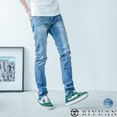 韓版刷色牛仔褲【P2120】OBIYUAN 鬼洗刷痕彈性丹寧 長褲 共1色