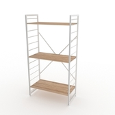 (組)特力屋萊特三層架白框/淺木紋-80x40x158cm