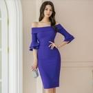 洋裝 打底裙 中長款 S-XL新款性感一字領喇叭袖連身裙女包臀中裙H538-8365.皇朝天下