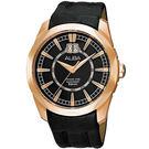 【台南 時代鐘錶 】ALBA 雅柏 @放射條紋設計 經典品味玫瑰金皮帶男錶 AQ5068X