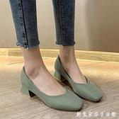 單鞋女鞋子年新款粗跟高跟春季時尚復古百搭方頭中跟豆豆鞋女 中秋節全館免運