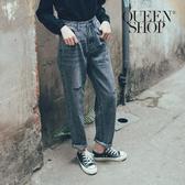 Queen Shop【04011393】小刷破高腰直筒牛仔褲 兩色售 S/M/L/XL*現+預*