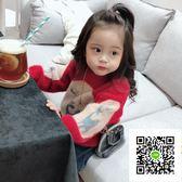 女童毛衣  女童水貂絨洋氣毛衣秋冬新款韓版小童兒童海馬毛針織衫聖誕節 歐歐流行館