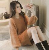 ZUCAS~(RF-4960)海馬毛呢加絨V領長袖泡泡袖羅紋針織毛衣洋裝
