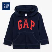 Gap 男嬰兒logo拉鍊連帽休閒上衣 511478-海軍藍色