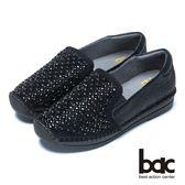 ★新品上市★【bac】樂活時尚-水鑽裝飾真皮休閒鞋(黑色)