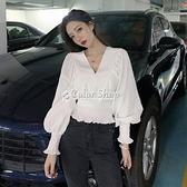 2021新款洋氣V領設計感收腰小眾長袖襯衫百搭白色襯衣上衣女 快速出貨