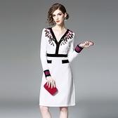 洋裝-長袖V領花朵刺繡顯瘦女連身裙73of65【巴黎精品】