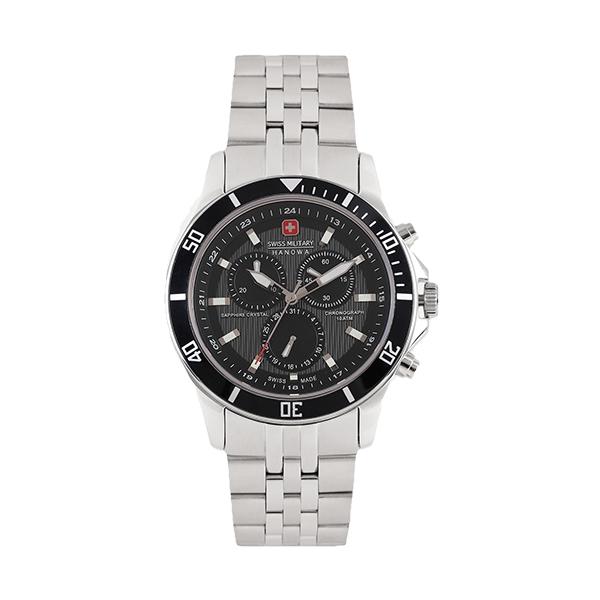 【SWISS MILITARY HANOWA】FLAGSHIP CHRONO瑞士錶三眼鋼帶錶-質感黑M14286JSN.H02MSGS台灣總代理公司貨兩年保固