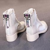 網靴夏季透氣薄款短靴夏款2020網紅馬丁靴女潮ins百搭網紗涼靴子
