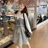 VK精品服飾 韓系格子POLO領氣質長袖洋裝