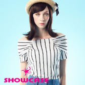 【SHOWCASE】知性露肩雙條紋一字領上衣/T恤(白)