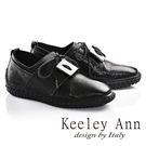網路平台獨家6折★零碼出清★Keeley Ann視覺系重金屬綁帶真皮平底鞋(黑色)-Ann系列