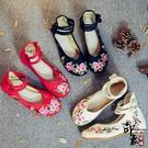 款繡花鞋喜上眉梢刺繡布鞋舒適透氣廣場舞散步軟底女鞋 入秋首選