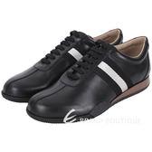 BALLY FRENZ 經典織帶拼接牛皮綁帶休閒鞋(黑色) 1530075-01
