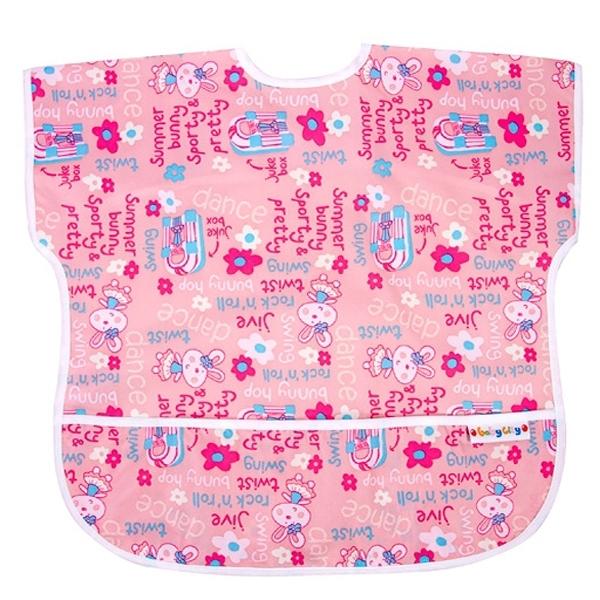 Baby City 防水短袖圍兜/粉色兔子(1~3歲)
