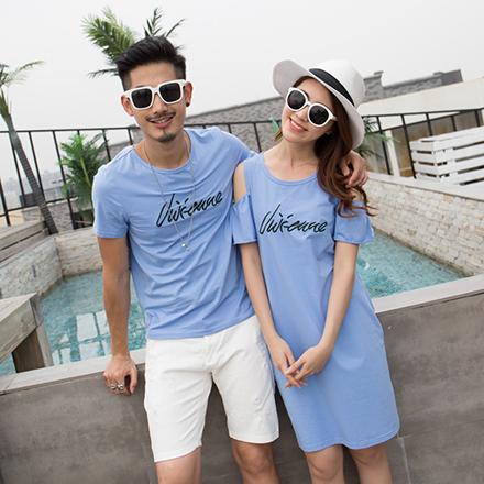 GU韓版鯊魚刺繡短袖上衣親子裝(藍色/大人)