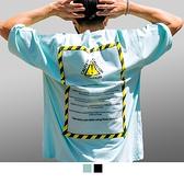 【男人幫大尺碼】T1655-CAUTION緊示符號潮流純棉T恤