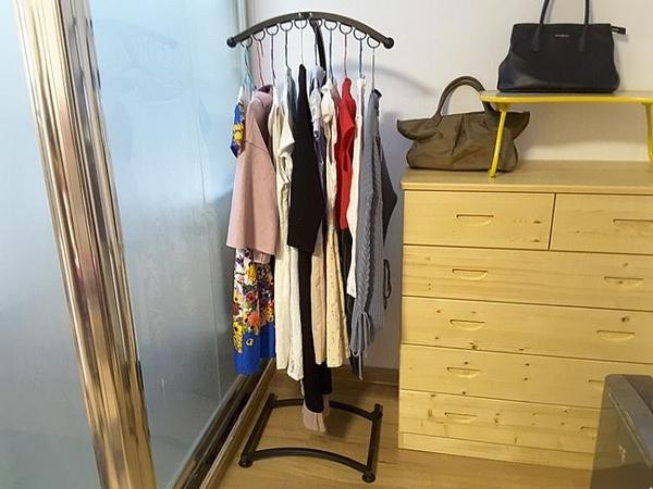 晾衣架臥室落地衣架單桿晾衣架簡易晾衣架小型室內曬衣架 叮噹百貨