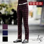 男 格紋/窄管/西裝褲 L AME CHIC 韓國製  暗紋虛線格紋窄管修身西裝長褲【CBT122001】
