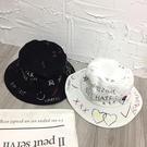 遮陽帽 漁夫帽 女夏天涂鴉街頭平頂情侶盆帽 遮陽帽 出游防曬太陽學生