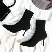 彈力襪子靴女高跟鞋 靴子針織襪靴瘦瘦靴細跟中筒短靴尖頭秋冬裸靴