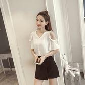 FINDSENSE G5 韓國時尚 新款 夏裝 V領 露肩 喇叭袖 雪紡衫 短袖 上衣