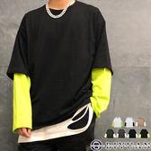 【OBIYUAN】長袖衣服 假兩件 配色 寬鬆 落肩 長袖T恤 共7色【K1012】