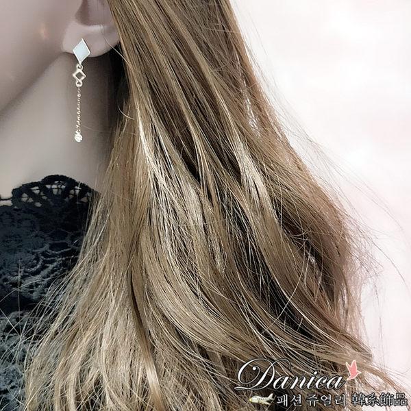 耳環 現貨 韓國氣質簡約幾何菱形不對稱垂墜925銀針耳環 夾式耳環 S93266 批發價 Danica 韓系飾品