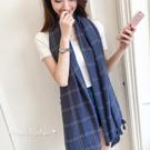 圍巾。簡約格子 流蘇 棉麻 春秋 男女 輕軟薄圍巾 披肩 生日禮物(SSA0003)AngelNaNa