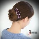 髮簪 花朵髪梳防滑髪夾髪卡頭飾卡子頂夾插梳盤髪器韓版髪飾品水鑽