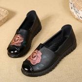 中年鞋媽媽鞋單鞋中老年女鞋舒適軟底平底奶奶中年老人皮鞋秋款冬季 新品