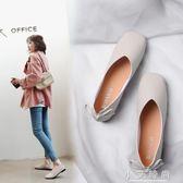 單鞋 復古豆豆奶奶鞋方頭淺口平底單鞋女鞋春季韓版百搭平跟夏 小艾時尚
