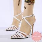 高跟涼鞋 雪白尖頭魚骨縷空交叉帶 高跟鞋 晚宴鞋 新娘鞋 大尺碼35-40*Kwoomi-A62