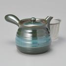 日本陶壺【美濃燒】海洋綠 六兵衛 橫手急須0.5L 泡茶壺