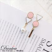 耳環 現貨 韓國幾何圓形三角形不對稱珍珠垂墜耳針 夾式耳環 s92993 批發價 Danica 韓系飾品