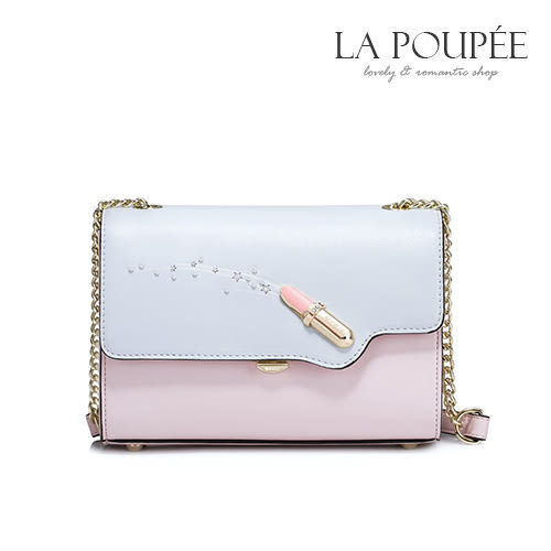 側背包 魔幻唇彩粉嫩撞色小方包 -La Poupee樂芙比質感包飾 (現貨)