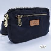 【Misstery贈吊飾】腰包迷彩圖案拉鏈腰包-藍(防潑水面料搭配頂級植鞣革)A88-116SBU