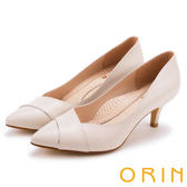 ORIN 典雅名媛 素面造型剪裁羊皮百搭尖頭高跟鞋-米色