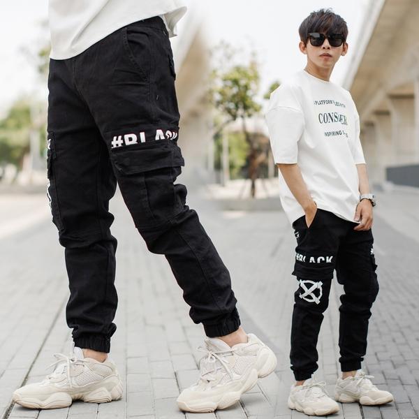 縮口褲 韓國製#BLACK LABEL高磅長褲工作褲縮口褲【NB1016J】