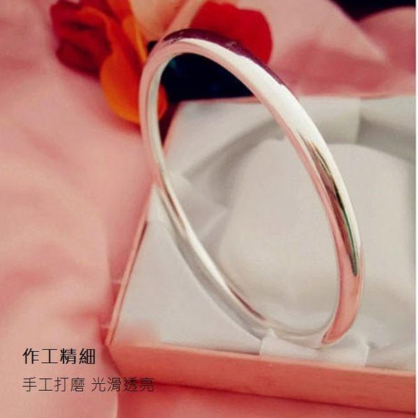 925純銀 圓形圓柱素面扣式手環-銀 防抗過敏 不退色