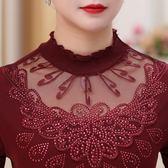 618好康鉅惠中老年女裝春裝長袖蕾絲衫中年媽媽裝