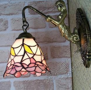 設計師美術精品館歐款式燈飾 彩色玻璃燈具 歐陸鐵藝壁燈 美人魚田園小蘭花鏡前燈