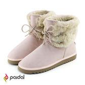 Paidal 顯瘦款雪兔毛絨假綁帶短筒雪靴-俏麗粉
