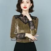 依酷衫 金色針織打底衫秋冬新款內搭洋氣薄款蕾絲心機亮絲長袖上衣