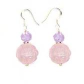 粉晶蓮花珠與紫玉角珠純銀耳環