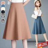直疊車縫A字中長裙(4色)M~2XL【101765W】【現 預】